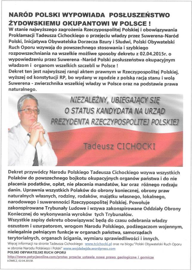 Naród Polski wypowiada posłuszeństwo  żydowskiemu okupantowi w Polsce