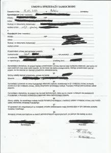 Umowa kupna sprzedazy auta bez danych osobowych