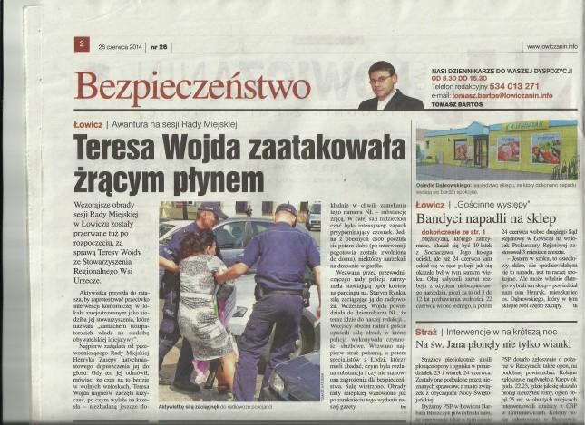 Z NŁ artykuł - Teresa Wojda zatakowła żrącym płynem