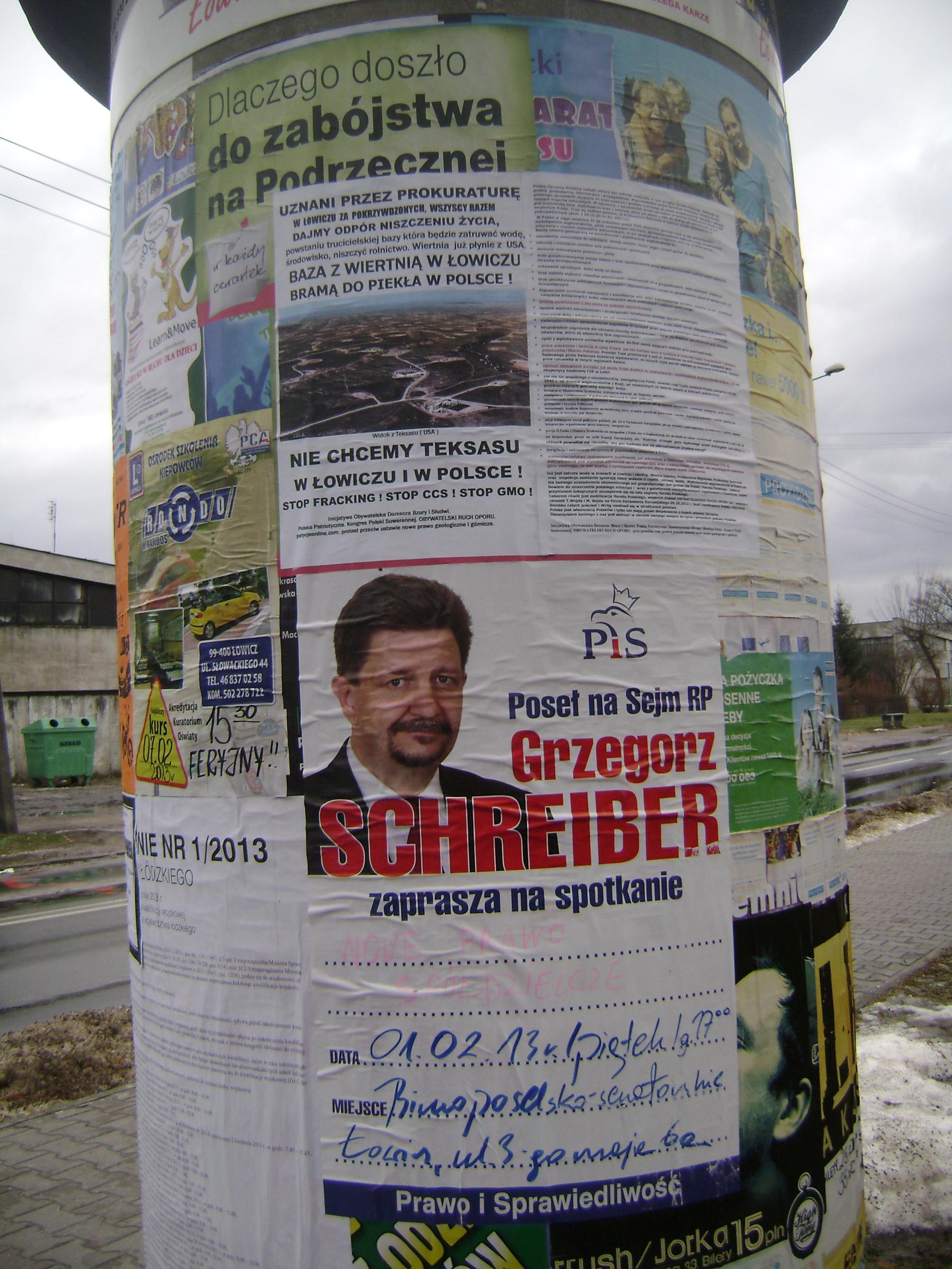 Plakaty na słupach ogłooszeniowych Łowicza 31.01.2013r. 015