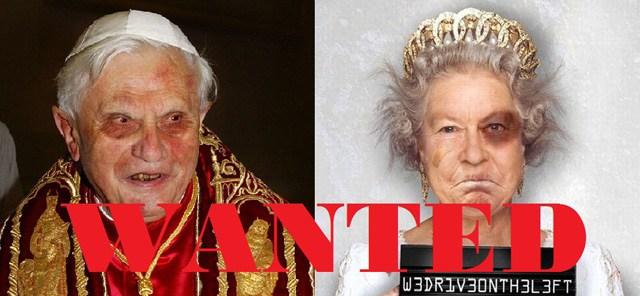 Wanted papież Benedykt  i królowa. foto