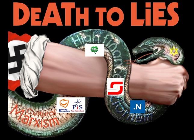 Grafika zydowski wąź kłamstwa musi zostać zduszony